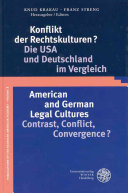 American and German legal cultures Book