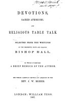 Devotions  Sacred Aphorisms and Religious Table Talk