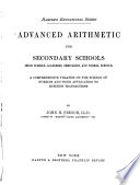 Advanced Arithmetic for Secondary Schools