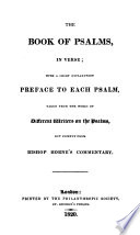 The Book Of Psalms In Verse With A Short Explanatory Preface To Each Psalm Taken Chiefly From Bp Horne S Commentary