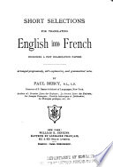 Short Selections For Translating English Into French Book PDF
