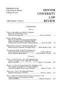 Denver University Law Review