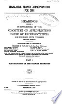 Legislative Branch Appropriations For 2001 Justification Of The Budget Estimates