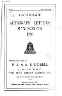Catalogue of Autographs  Etc Book