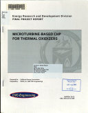 Microturbine based CHP for Thermal Oxidizers