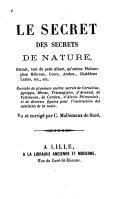 Le secret des secrets de nature