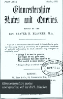 Gloucestershire notes and queries  ed  by B H  Blacker