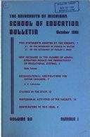 The University Of Michigan School Of Education Bulletin