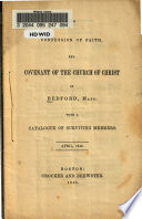 The Confession of Faith  and Covenant of the Church of Christ in Bedford  Mass Book