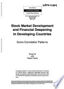 Stock Market Development and Financial Deepening in Developing Countries