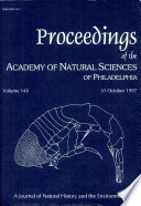 Proceedings Of The Academy Of Natural Sciences Vol 148 31 October 1997