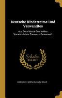 Deutsche Kinderreime Und Verwandtes