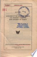 Report on the Activities of the Merchant Marine and Fisheries Committee