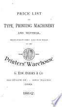 Price List of Type  Printing Machinery and Material Book