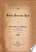 Die deutsche Renaissance-lyrik
