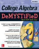 College Algebra DeMYSTiFieD, 2nd Edition [Pdf/ePub] eBook