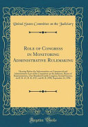 Role Of Congress In Monitoring Administrative Rulemaking