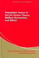 Population Issues in Social Choice Theory  Welfare Economics  and Ethics