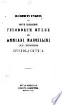 R  U  ad     T  Bergk de A  Marcellini locis controversis epistola critica Book PDF