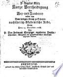 Kurze Vertheidigung der Hex- und Zauberey wider eine dem heiligen Kreutz zu Scheyrn nachtheilig-Akademische Rede, welche den 13. October 1766 von ... Ferdinand Sterzinger ... abgelesen worden