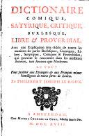Dictionnaire comique, satirique ...