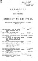 Catalogue of portraits of eminent characters, historical, political, literary, artistic, social, &c. Nov. 1866