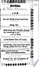 Perkins A New Almanack And Prognostication For The Year Of Our Lord God 1680