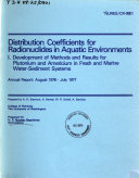 Distribution Coefficients for Radionuclides in Aquatic Environments