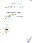 Mayor s Message and Reports of the City Officers Book