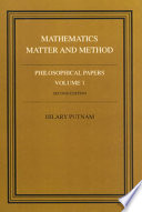 Philosophical Papers: Volume 1, Mathematics, Matter and Method