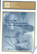 Principles Of Health Economics For Developing Countries
