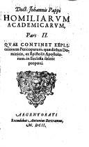 Homili   academic    in pericopas Euangeliorum et Epistolarum  qu   diebus  t  m dominicis  t  m feriatis alijs  in Ecclesia solent proponi  etc