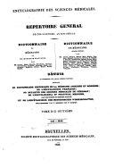 Encyclographie des sciences médicales répertoire général de ces sciences, au 19. siècle
