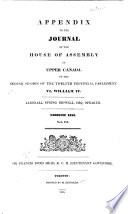 Journal of the House of Assembly of Upper Canada