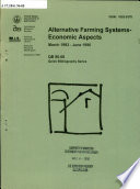 Alternative Farming Systems, Economic Aspects