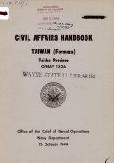 Civil Affairs Handbook  Taiwan  Formosa   Taichu Province