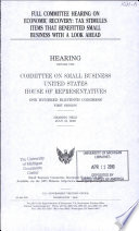 Full Committee Hearing on Economic Recovery