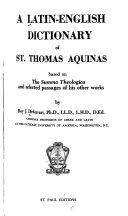 A Latin English Dictionary Of St Thomas Aquinas