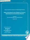 Study Of Academic Instruction For Disadvantaged Students Commissioned Papers And Literature Review