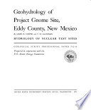 Geohydrology Of Project Gnome Site Eddy County New Mexico