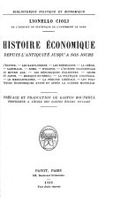Histoire économique depuis l'antiquité jusqu' à nos jours