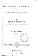 Bacon's essays, with intr., notes and index by E.A. Abbott