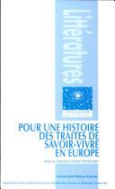 Pour une histoire des traités de savoir-vivre en Europe