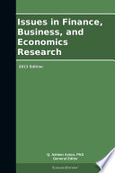 Issues In Finance Business And Economics Research 2013 Edition