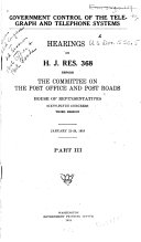 Government Control of the Telegraph and Telephone Systems