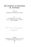 The Elements of Mechanics of Materials a Text for Students in Engineering Courses