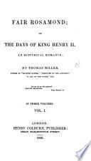 Fair Rosamond  or  the Days of King Henry II   an historical romance Book
