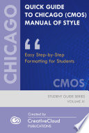 QUICK GUIDE TO CHICAGO (CMOS) MANUAL OF STYLE