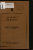 Catalogue of Books Printed in the State of Maharashtra
