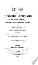 Études sur l'histoire littéraire de la Suisse française